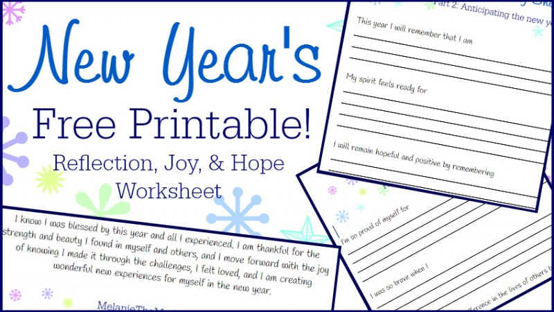 New Year's Free Printable Reflection, Joy, and Hope Worksheet