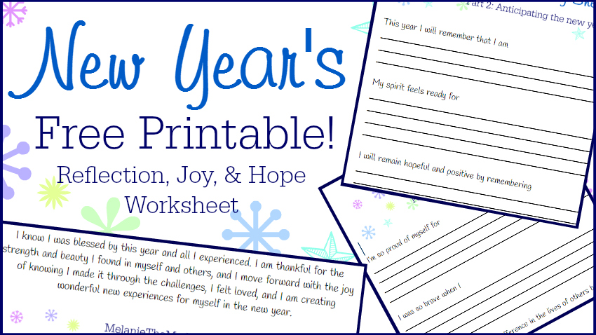 Free Printable! New Year\'s Reflection, Joy, and Hope Worksheet ...