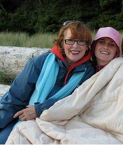 Two Melanie Rummel's bundled up on the beach