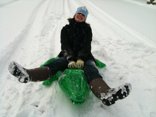 Me riding an alligator in the snow
