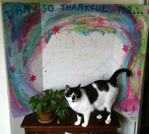 painted poster board and Cosmo