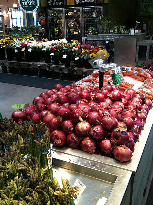 Whole Foods Onions, Flowers, and Asparagus