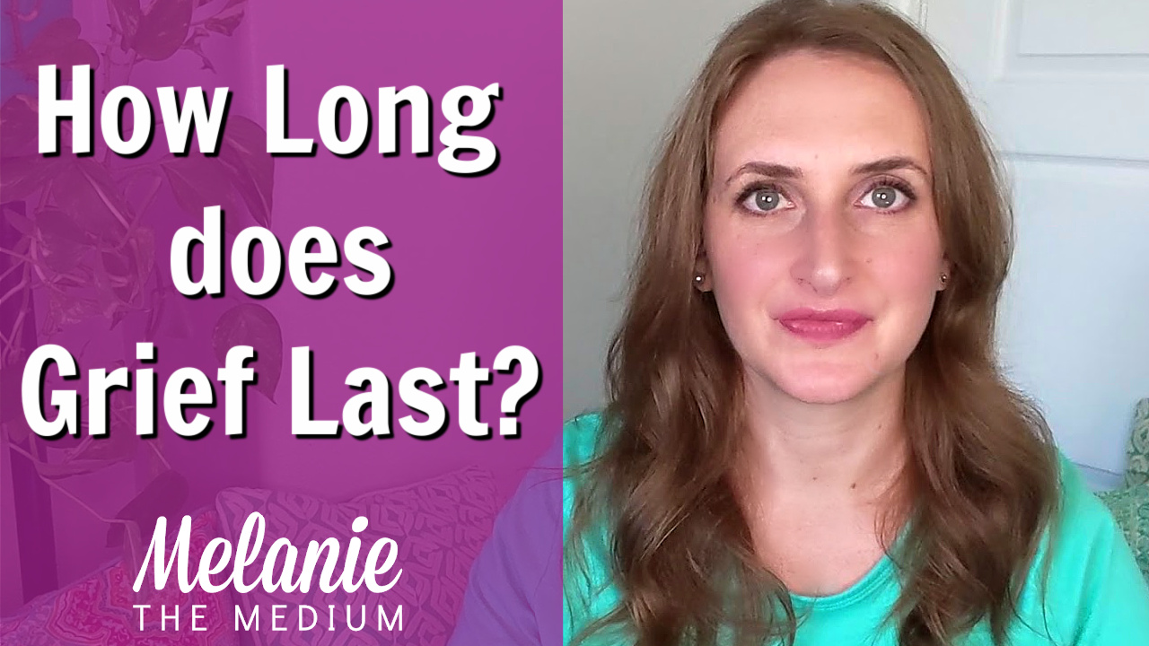 """photo of Melanie the Medium with purple overlay and text """"How Long Does Grief Last """""""